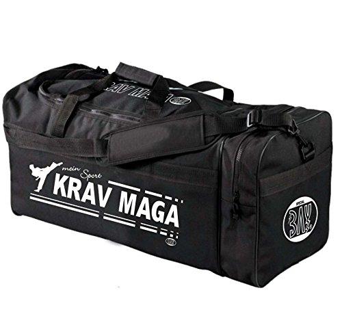 """BAY® XL Sporttasche """"mein Sport"""" KRAV MAGA, SV, Tasche, Trainingstasche, Boxtasche Boxingtasche Box Bag, schwarz, 70 x 32 x 30 cm Kampfsport Tasche mit Aufdruck Druck Self Defense Sport Training"""