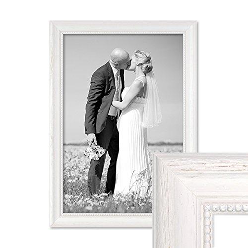 fotorahmen 30x45 PHOTOLINI Bilderrahmen Landhaus-Stil Weiss 30x45 cm Massivholz mit Glasscheibe und Zubehör/Fotorahmen