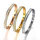 OMZBM Bracelet en Acier Inoxydable Bracelet Manchette Grooved pour Les Femmes Filles Sparkling Strass Bracelet Bijoux 6Mm 3 Couleurs,D
