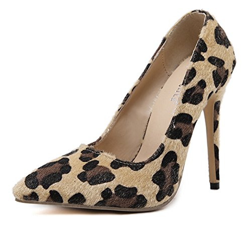 Aisun Damen Klassisch Leopard Print Nubukleder Spitz Low-Cut Stiletto Pumps Mehrfarbig