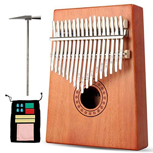 Winload Kalimba 17 Key, Kalimba Daumenklavier 17 Schlüssel, Mahagoni Finger Klavier, Mini Thumb Piano mit Stimmhammer, Tragetasche für Musikliebhaber und Anfänger, Musikinstrument Geschenk für Kinder