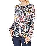 TAIFUN 260033 17513 Fb. 2009 Damen Bluse mit Schleife am Ausschnitt Gemustert, Groesse 46, hellgrau/Marine/Gemustert