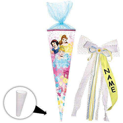alles-meine GmbH Schultüte -  Disney Princess - Schneewittchen - Belle - Cinderella  - 85 cm - eckig - incl. individueller _ großer 3-D Effekt _ Schleife - mit Namen - Tülla..