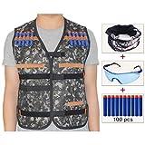 cosoro Niños Chaleco Chaleco táctico Kit para pistola de Nerf N-strike Elite Series (dotata de máscara cara + Gafas protectoras + 100pcs dardos balines)–selva