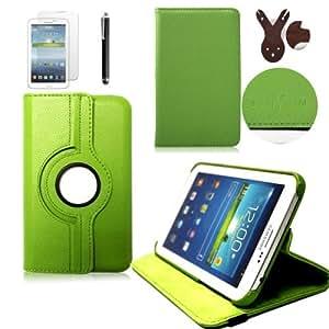 boriyuan Tasche PU Leder Hülle Schutzhülle für Samsung Galaxy Tab 3 P5200 P5210 P5220 Tablet PC 10,1 Zoll mit Stand 360 Grad drehbar Farbe: Grün