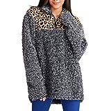 Daysing Soldes Chemise Femme Femmes Manches Longues Stand LéOpard Patchwork Chaud Furry Zipper Top Blouse Outwear Manches LonguesWinter 2019 Lingerie érotique