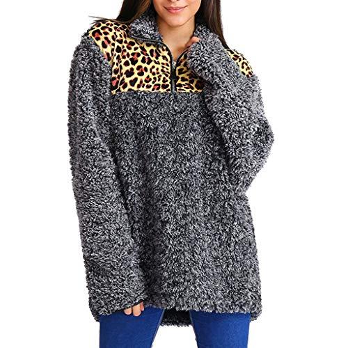WUSIKY Kapuzenpullover Damen Hoodie Langarm Sweatshirt Pulli St Leopard Patchwork Warme Pelzige Zipper Top Bluse Outwear Jacke Kapuzenjacke Damen Pullover Sweatjacke (Dunkelgrau, 3XL) (Leopard Pullover Hoodie)