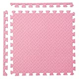 L&LQInterlocking bambino puzzle bolla camera da letto ispessimento strisciante tappetino splicing tappeti 16 pezzi , pink , leaves pattern
