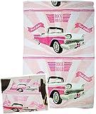 alles-meine.de GmbH Fleecedecke / Kuscheldecke -  Pink Cabrio / Rock Road - Auto  - 150 cm * 200 cm - 100 % Microfaser - Decke aus Fleece - für Erwachsene & Kinder - Wohndecke ..