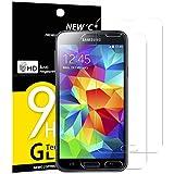NEW'C Panzerglas Schutzfolie für Samsung Galaxy S5 Mini, [2 Stück] Frei von Kratzern Fingabdrücken und Öl, 9H Härte, HD Displayschutzfolie, DisplayschutzfoliekompatibelSamsung Galaxy S5 Mini