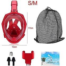 CHuangQi Masque de plongée intégral avec Tuba, Vue panoramique à 180 °, Anti-buée, Anti-Fuite avec caméra d'action Amovible, pour Adultes et Enfants, Rouge 1, Petit