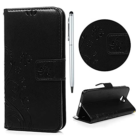 Nokia Lumia 650 Case, Lanveni [Wallet Case] Magnetic Flip Book Style Cover, High Quality Classic Tree Flower Butterfly Pattern Premium PU Leather Folding Wallet Case With [Wrist Strap] & [Credit Card Slots] Kickstand Function Folio Protective Shell Perfect Fit For Microsoft Nokia Lumia N650 with Free Touch Pen -
