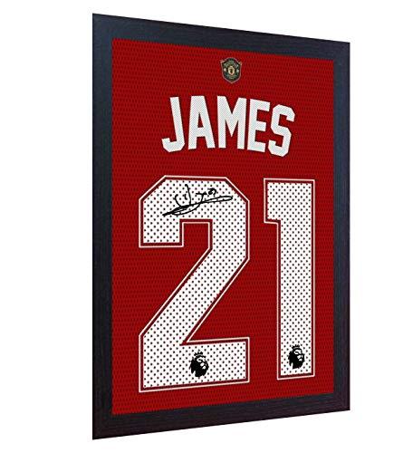 SGH SERVICES Daniel James Trikot Manchester United mit Autogramm auf Leinwand, gerahmt, 100% Baumwolle