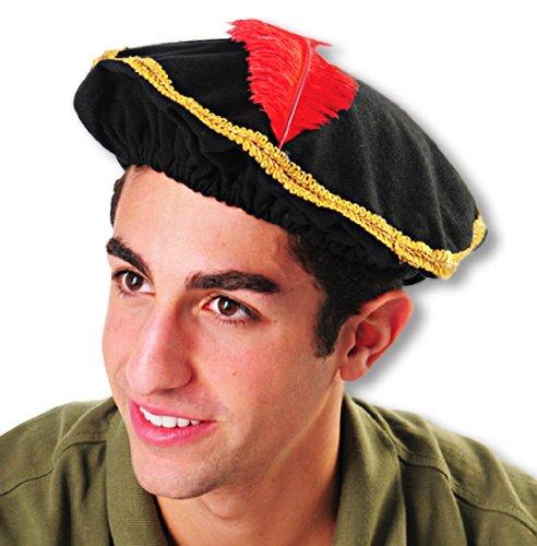 Schwarzer Renaissance Hut mit Feder für Fasching & Karneval