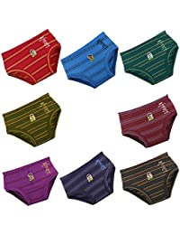 DORA DORA Kids Baby Boys and Girls Striped Printed Cotton Panties Inner Wear Brief Panty Combo Pack Offer - 8 Pc Pack