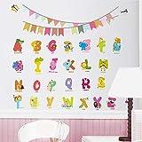 Meaosy Cute Englisch Alphabet Bunte Fahnen Tiere Wandaufkleber Kinderzimmer Dekoration Diy Wandtattoos Kunst Schälen Und Stick Party Decor