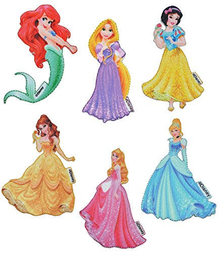 alles-meine.de GmbH 4 TLG. Set: Bügelbilder - Prinzessinnen - 6,5 cm * 11 cm - Disney Prinzessin / Princess - Aufnäher Applikation - gewebter Flicken - Schneewittchen, Rapunzel, .. (Disney Princess Rose)