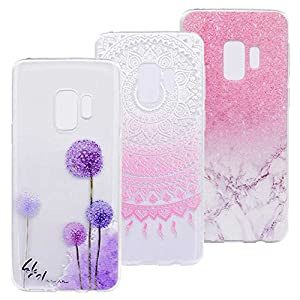 3 x Capas para Samsung Galaxy S9 de mandala rosa, mármore, dente de leão