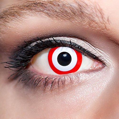 KwikSibs farbige rote Kontaktlinsen Zombieaugen 1 Paar (= 2 Linsen) weiche Funlinsen inklusive Behälter (Stärke/Dioptrie: 0 (ohne))