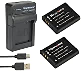 Newmowa Li-50B Battery (2-Pack) and Portable Micro USB Charger kit for Olympus LI-50B and Olympus SZ-10 SZ-12 SZ-15 SZ-16 iHS Sz-20 SZ-30MR SZ31MR iHS TG-610 TG-630 HIS TG-810 TG-820 TG-830 HIS XZ-1 XZ-16 iHS SP-810UZ Stylus Tough TG-860 Digital Camera + More!! (2 batteries + 1 charger)