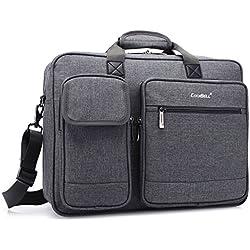 CoolBELL 15,6 Zoll Laptop Aktentasche schützend Messenger Bag Nylon Schultertasche Multifunktional Henkeltasche Laptop / Ultrabook / Tablet / Macbook / Dell / HP, Grau