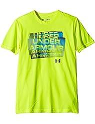 Under Armour Fitness T-Shirt Q2 Scatter Script Short Sleeve T - Camiseta para niños, color amarillo, talla Y-S