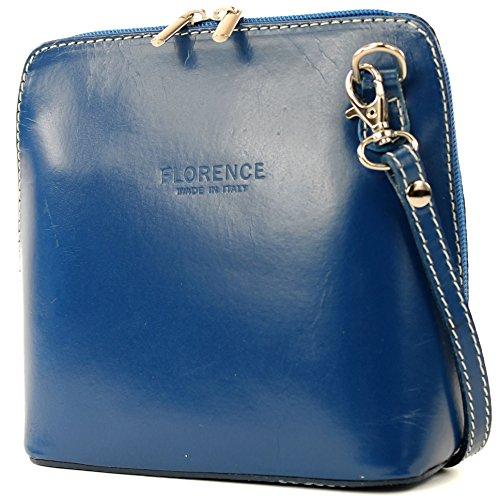 modamoda de - ital. Ledertasche klein Damentasche Umhängetasche Citytasche Rindsleder T94 Blau