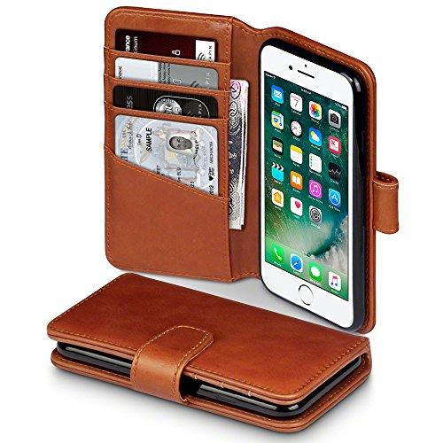 TERRAPIN, Kompatibel mit iPhone 8 / iPhone 7 Hülle, [ECHT Leder] Brieftasche Case Tasche mit Kartenfächer und Bargeld - Cognac Iphone-leder-tasche