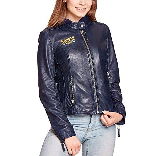 Wonder veste en cuir femme femme avec un logo et la capuche en double couche bleu - M