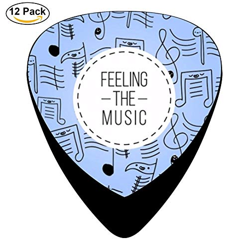 Hand Drawn Musical Notes Celluloid Electric Guitar Picks 12-pack Plectrums For Bass Music Tool -