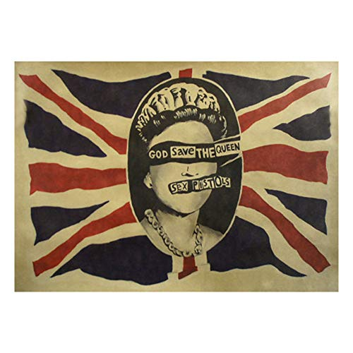 Vintage Kraft Poster Estilo Banda Rock God Save The