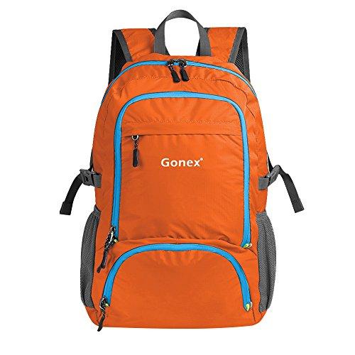 Gonex Reiserucksack / Wanderrucksack, Unisex, zusammenfaltbar, leichtgewichtig, vielseitig verwendbar, verbessertes Design mit 30 Liter Fassungsvermögen, Orange
