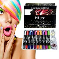 Hilytz Unicorn Hair Chalk and Face Paint Set - 10 Temporary Hair Colour Kids, Adults Perfect for Party, Prime Halloween Birthday Christmas Gift (Multi-Coloured)