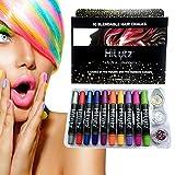 Hilytz Pintura Facial/ Tizas Para el Pelo Hair Chalk 10 Metallic Glitter Pens, Fácil de Lavar No toxico/ Comb + 3 Glitters/Regalo de Cumpleaños de Navidad