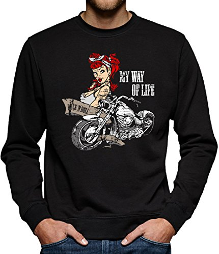 TLM Biker Girl Tattoo Sweatshirt Pullover Herren XL Schwarz