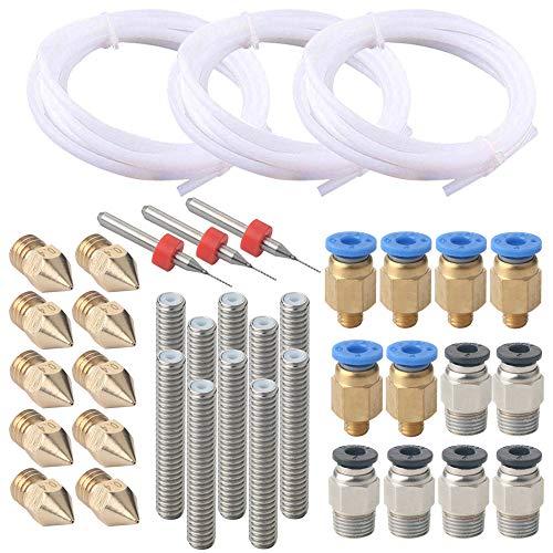 Fularr 38pcs professionale 3d stampante accessorio kit: 3pcs ptfe teflon tubo, 6pcs pc4-m6 connettore, 6pcs pc4-m10 connettore, 10pcs ugello stampa testina, 10pcs ugello gola tubo e 3pcs pulizia aghi.