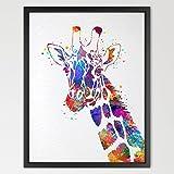 dignovel Studios Girafe Imprimé Animal Aquarelle Décoration murale chambre d'enfants garçon fille Enfants Chambre de bébé Décoration Intérieur Chambre Enfant Art N421