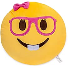 Lady Nerd Face Emoji Soft Stuffed Plush Cushion Pillow - 35x35x8cm Grande Suave Emoticono Cojín Almohada