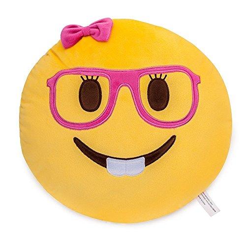 Lady nerd face faccina emoji morbido farcito cuscino peluche - 35x35x8cm grande emoticon ripiene cuscino - giocattolo regalo per ragazzi & ragazze & bambini | perfetti per decorare