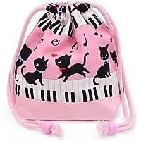 Black Cat Waltz dancing on the (small size) with gusset bag cup piano drawstring Gokigen lunch (pink) x Ox pink made in Japan N3560200 (japan import) preisvergleich bei kinderzimmerdekopreise.eu