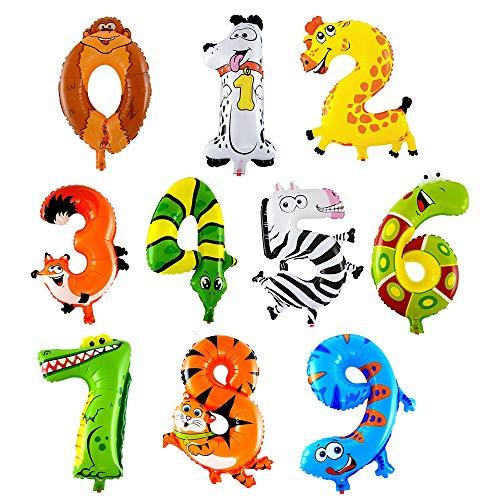 Tiere Zahlen Dekorationen Ballons, Ballons für Geburtstag, Hochzeiten, Party Baby Shower Party Dekorationen, Spielzeug für Kinder Kinder (10PC) (Bau-geburtstags-ballons)