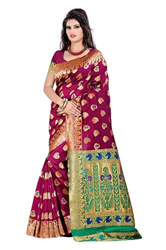 JustFashion Women's Pink Banarasi Silk Saree With Blouse Piece