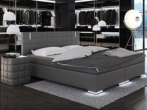 SAM LED-Boxspringbett 200x200 cm Berlin, Kunstleder grau, Bonellfederkern-Matratze H3, Topper, LED-Beleuchtung an Füßen & Kopfteil
