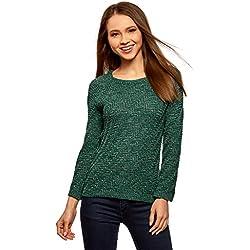 oodji Ultra Mujer Jersey de Punto Texturizado con Rayas Diagonales, Verde, ES 34 / XXS