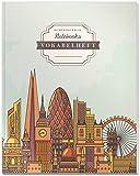 DÉKOKIND Vokabelheft   DIN A4, 84 Seiten, 2 Spalten, Register, Vintage Softcover   Dickes Vokabelbuch   Motiv: London Skyline