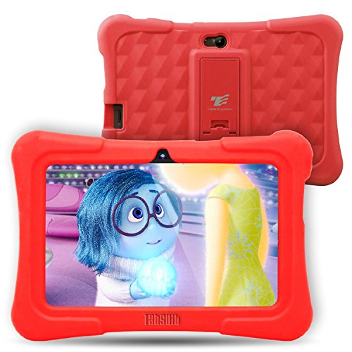 Price comparison product image Dragon Touch Y88X Plus Kids Tablet 7 inch Quad Core Android PC Tablet Android 5.1 Lollipop IPS Screen 1G RAM 8G ROM Wifi Bluetooth Camera Games Unlocked Version of Kidoz & Google Play Pre-Installed (With Red Silicone Adjustable Stand Case)