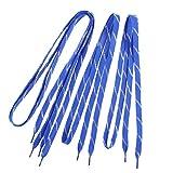 sourcing map Motif guirlandes Glitter Baskets lacets plat 110cm Longueur Bleu 2 paires