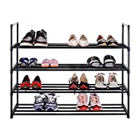 Lumsing 4 Tier Shoe Rack Standing Storage Organizer for 20 pairs of shoes Black 74 x 90 x 29.5cm
