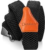 Decalen Hosenträger für Herren breit extra starken 4 cm mit 3er Clips Y Form Lang für Männer und Damen Eine Größe Passt Alle Verschiedenen Farben (Schwarz 1)