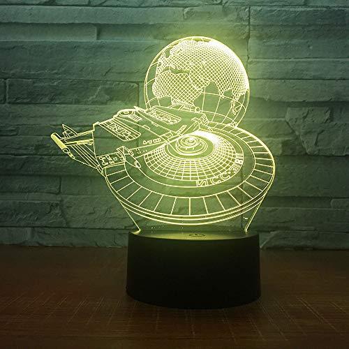 Millennium Falcon mit Earth Lights Jungen Schlafzimmer Nachtlichter Dekorative Lampen Kinderspielzeug Kindergeschenke Glühend